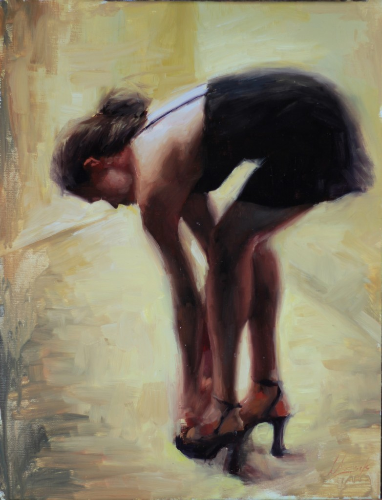 Matt Abraxas SmithKlein Oil Painting of Woman Getting Ready