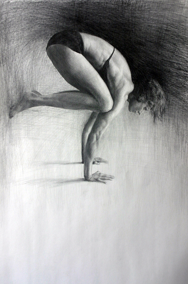 Paintings of Women Matt Abraxas yoga pose drawing bakasana